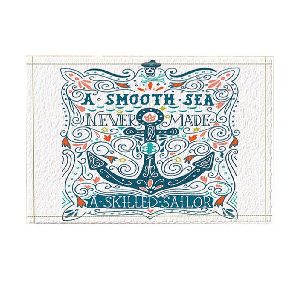 KOTOM NYMB Nautical Marine Decor, Vector Anchor in lettering Bath Rugs, Non-Slip Doormat Floor Entryways Indoor Front Door Mat, Kids Bath Mat, 15.7x23.6in, Bathroom Accessories
