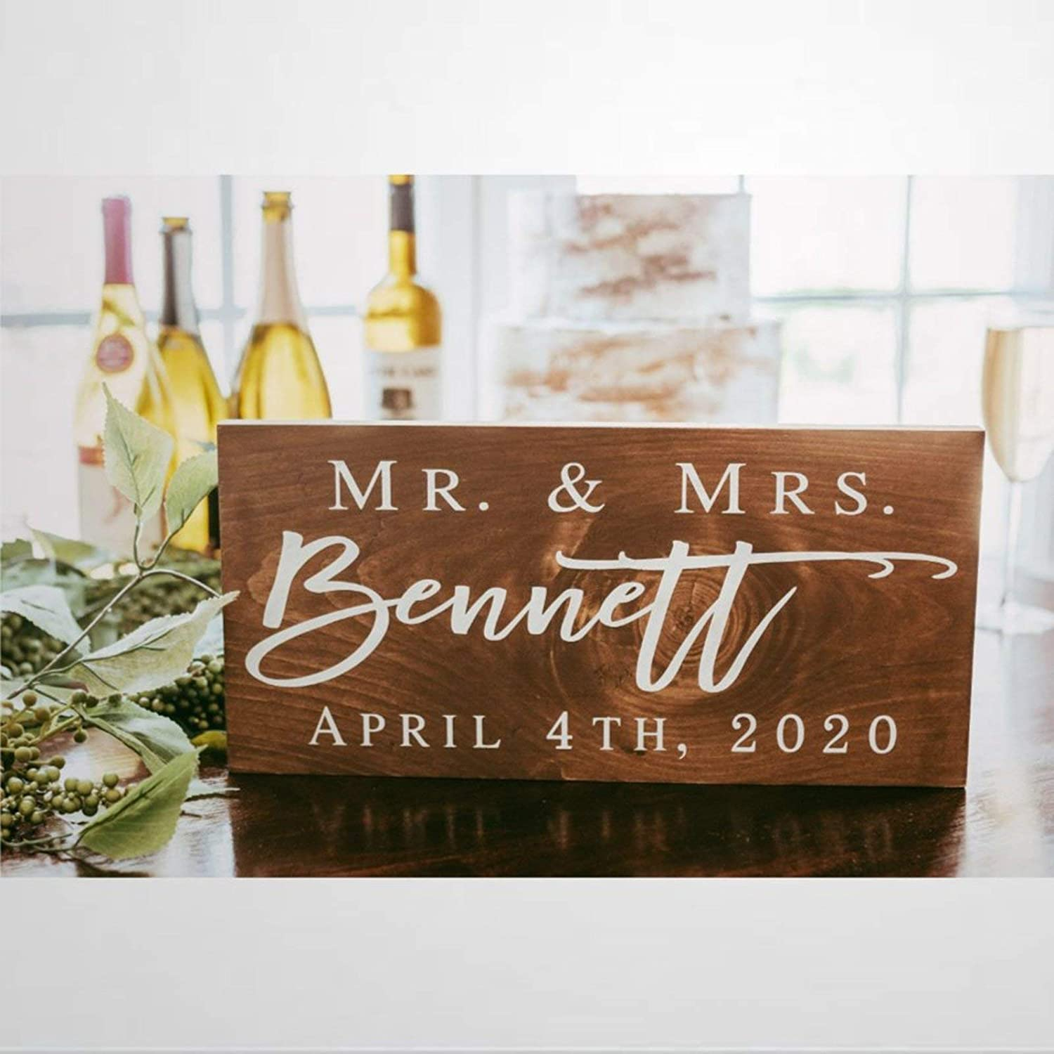 DONL9BAUER Custom Family Wood Sign Mr and Mrs Sign Last Name Bridal Shower Wall Hanging Rustic Home Decor Wall Art Indoor Outdoor