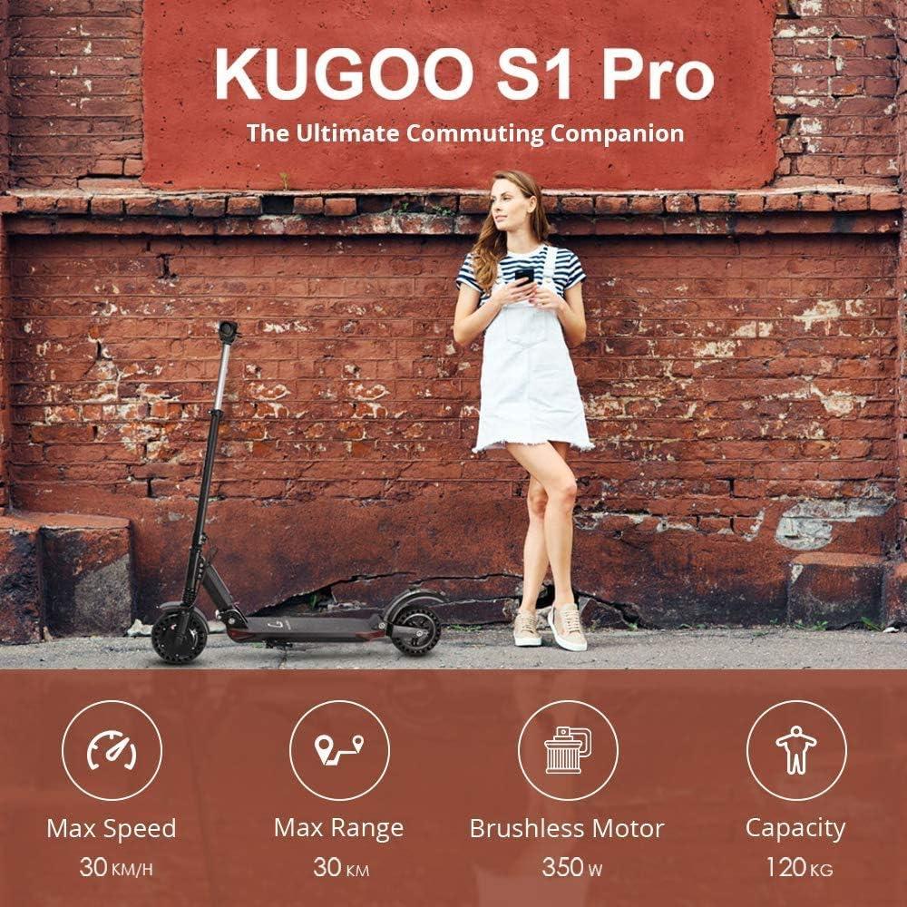 Motor de 350 vatios Kugoo S1 Pro El/éctrico Scooter Plegable 30 km de Autonom/ía 3 Modos de Velocidad Patinete el/éctrico para Adultos Scooter el/éctrico Velocidad M/áxima 30 km//h