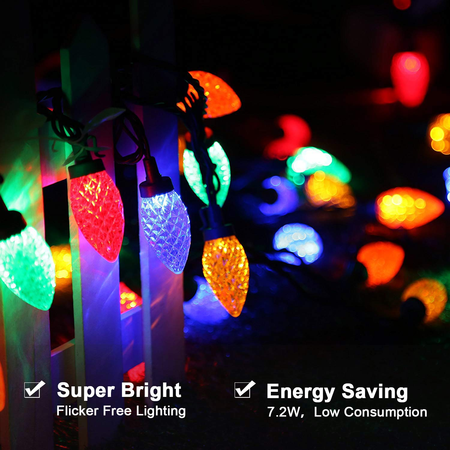 Dewenwils 50 Leds Outdoor Indoor String Lights 333ft C9 Led Christmas Light Wiring Diagram Get Free Image About Multi Colored Halloween Decoration For Patio Green Wire Garden