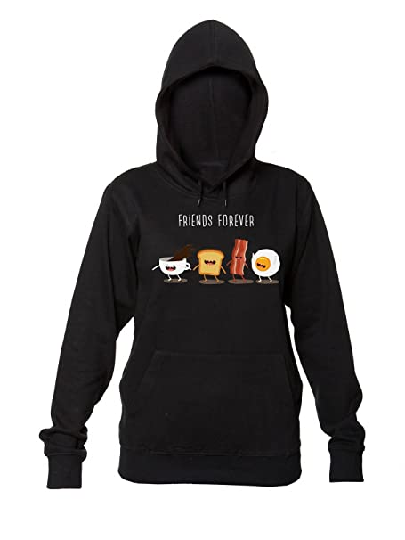 Friends Forever Morning Breakfast Womens Hooded Sweatshirt Sudadera con Capucha para Mujer Small