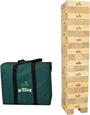 Garden Games Mega Hi-Tower in a Bag - Giant 0.9 Metres Builds Up To A  Maximum 2.3 Metres Wooden Tower Block Game