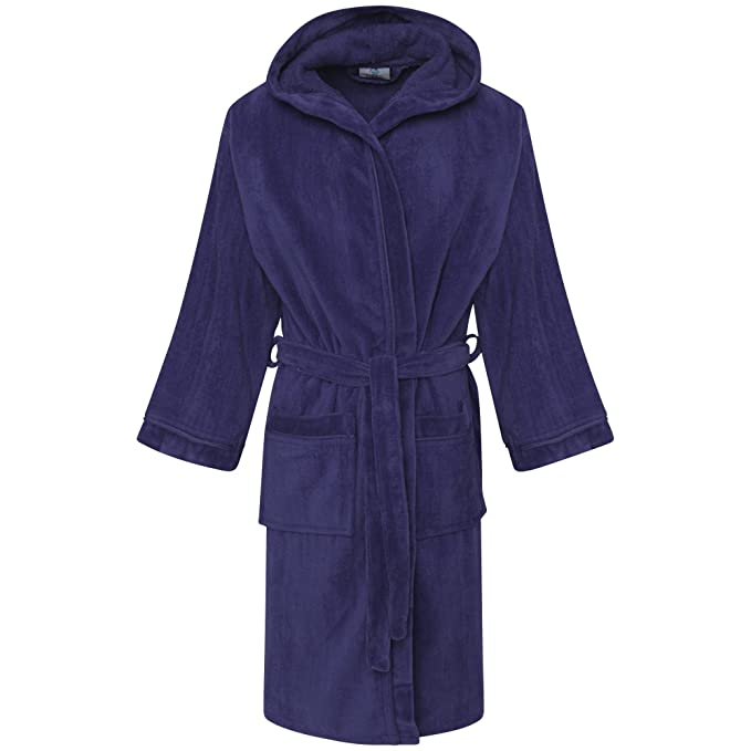 8c59bd8642 Kids Boys 100% Egyptian Cotton Velour Terry Towelling Bath Robe Hooded   Amazon.co.uk  Clothing
