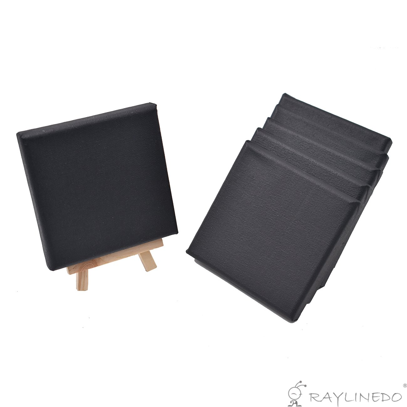 RayLineDo® Set of 6pcs Mini Artist Black Canvas Frame 4x4inch ( 10x10cm ) Oil Water Painting Board Flat Canvas with 1pc Mini Wood Display Easel
