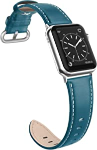 SWEES Leather Band Compatible with iWatch 38mm 40mm, Genuine Leather Elegant Dressy Replacement Strap Compatible with iWatch Series 5/4/3/2/1 Sport Edition Women, Blue