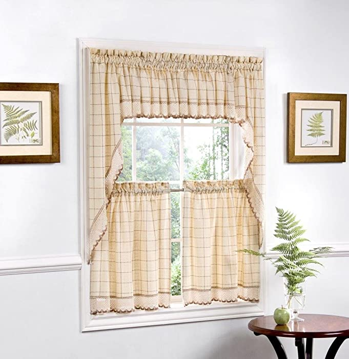 """Sweet Home Collection 5 Pc Kitchen Curtain Set, Swag, Valance, Toast, 24"""" Tier Pair"""