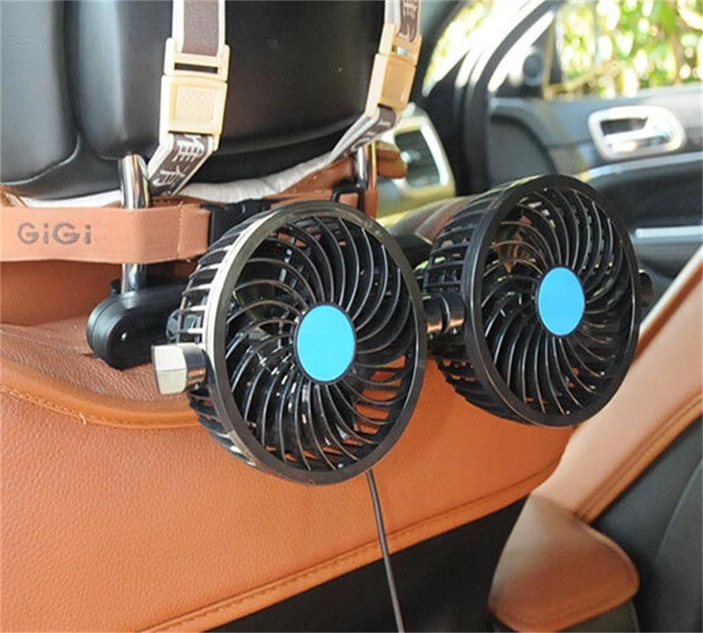 Fansport de voiture Fansport, 12V é lectrique Auto ventilateur de refroidissement de voiture Auto Refroidissement Ventilateur d'air Appui-tê te 360 Degré s Rotatif 2 Vitesse Double Tê te de siè ge arriè re Air Fan Fa