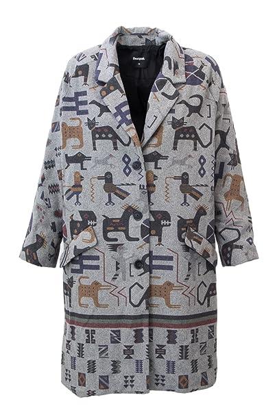 Desigual Cappotto Donna ABRIG ZHU 18WWEW11 38 (s) Grigio Chiaro  Amazon.it   Abbigliamento e1770560e30