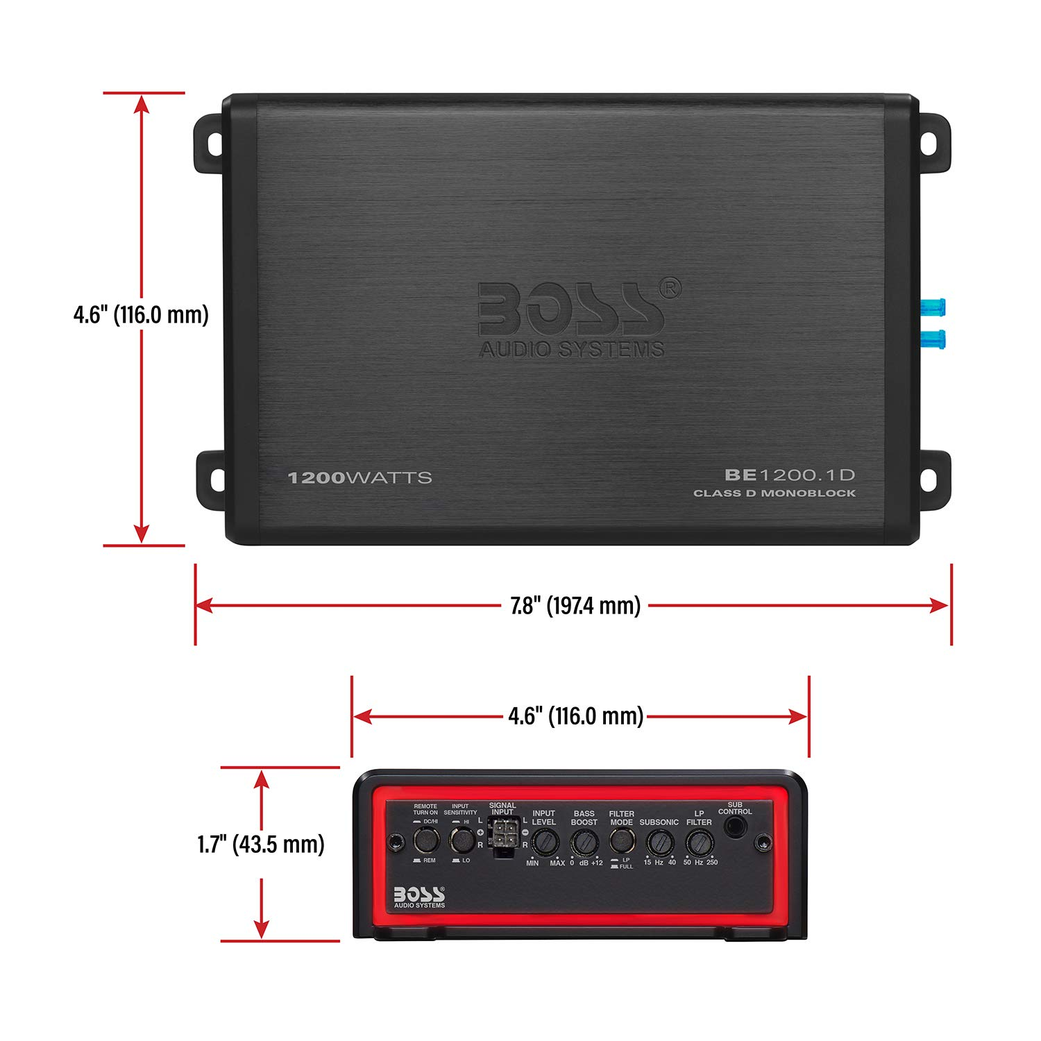 BOSS Audio Systems Elite BE1200.1D Class D Car Amplifier Monoblock Great for Subwoofers 1200 Watts 1 Ohm Stable Mosfet Power Supply Digital
