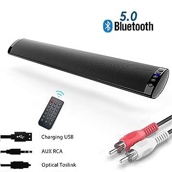 Barra de Sonido, Nueva Bluetooth 5.0, Profesional Sonido Envolvente Altavoz para TV/Home Cinema, Apoyo RCA/AUX/óptico/USB/TF Tarjeta, Compatible para ...
