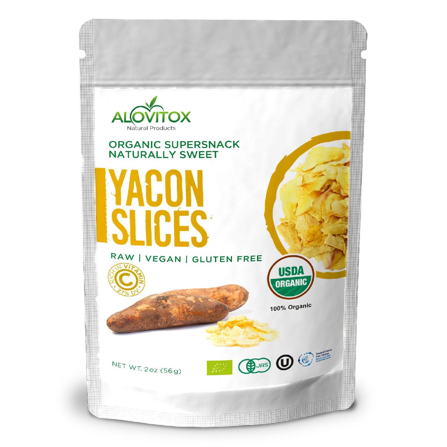 Yacon Slices - Highest Quality Wellness and Weight Loss Prebiotic Raw Keto Paleo Vegan and Gluten Free - FOS Root Diet Friendly Pure - USDA Organic 2oz by Alovitox by ALOVITOX Yacon Slices