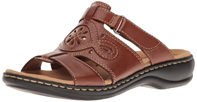 CLARKS Women's Leisa Higley Slide Sandal, Tan Leather, ...