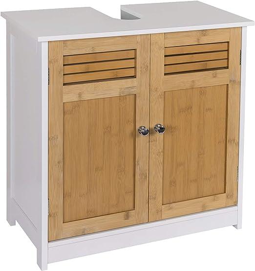 eSituro Mueble Bajo Lavabo Armario de Suelo para Baño Mueble de Baño Organizador Estante de Baño Armario de Almacenamiento, MDF Blanco+Natural 60x30x60cm SBP0048: Amazon.es: Hogar