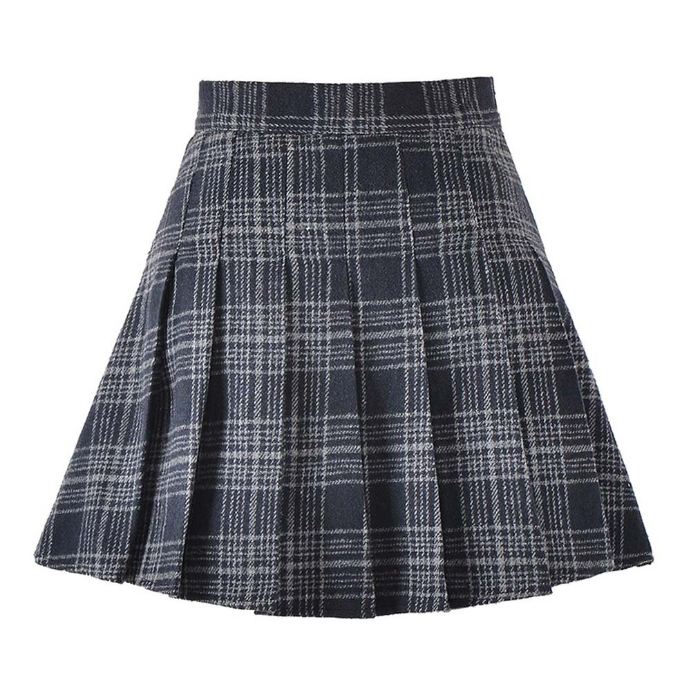 Coswe Girls High Waist Wool Pleated Schoolgirls Mini Skirt