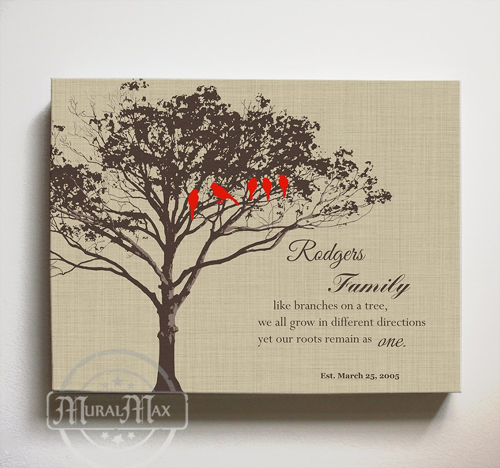 MuralMax - Personalized Family Tree & Lovebirds, Stretched Canvas Wall Art, Make Your Wedding & Anniversary Gifts Memorable, Unique Wall Decor, Color Tan - Size 24 x 20 - 30-DAY