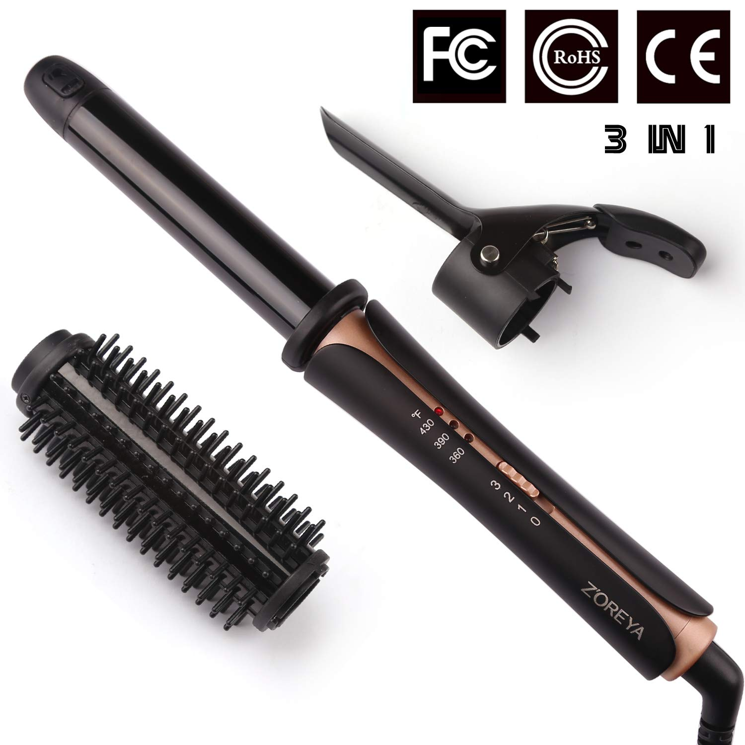 Curling Iron ZOREYA 3-in-1 Hair Instant Heat Curler Brush 1.25 Inch Ionic Hot Brush Dual Voltage Straightening Brush LED Display Hair Curling Iron Curling Wands Heated Styler Brush Auto Shut Off