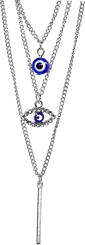 "17"" Inch Clear Rhodium Blue Evil Eye Crystal Rhinestone Layered Chain Choker Charm Pendant Necklace Chain Jewelry for Girls Women Stocking Stuffer"