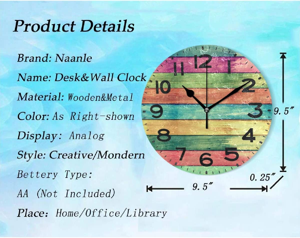 9.5 Inch Battery Operated Quartz Analog Quiet Desk Clock for Home,Office,School Naanle Cute Happy Dressed Snowman Skiing Outdoor Winter Print Round Wall Clock Decorative