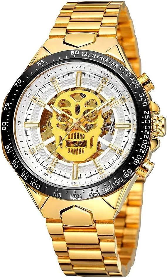 Hombres Reloj mecánico, Correa de diseño dial del Demonio del Reloj,Reloj mecánico de Malla,Tamaño de la Caja de Reloj:16 * 8.5 * 3.5CM (A): Amazon.es: Relojes