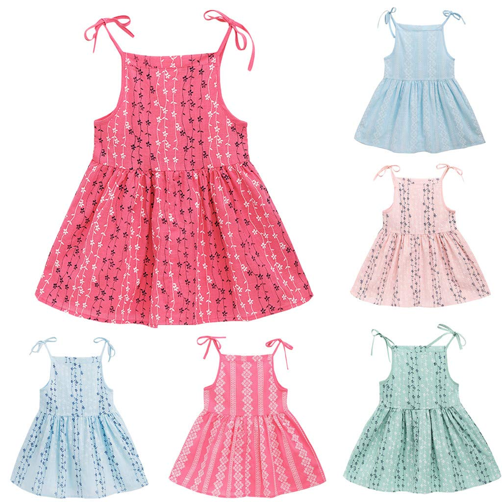 UULIKE Baby Girls Flower Print Short Dresses Fashion Lovely Sleeveless Solid Color Stripe Mini Dress Newest Toddler Infant Kid Wedding Pageant Communion Party Birthday Christening Dress Baptism