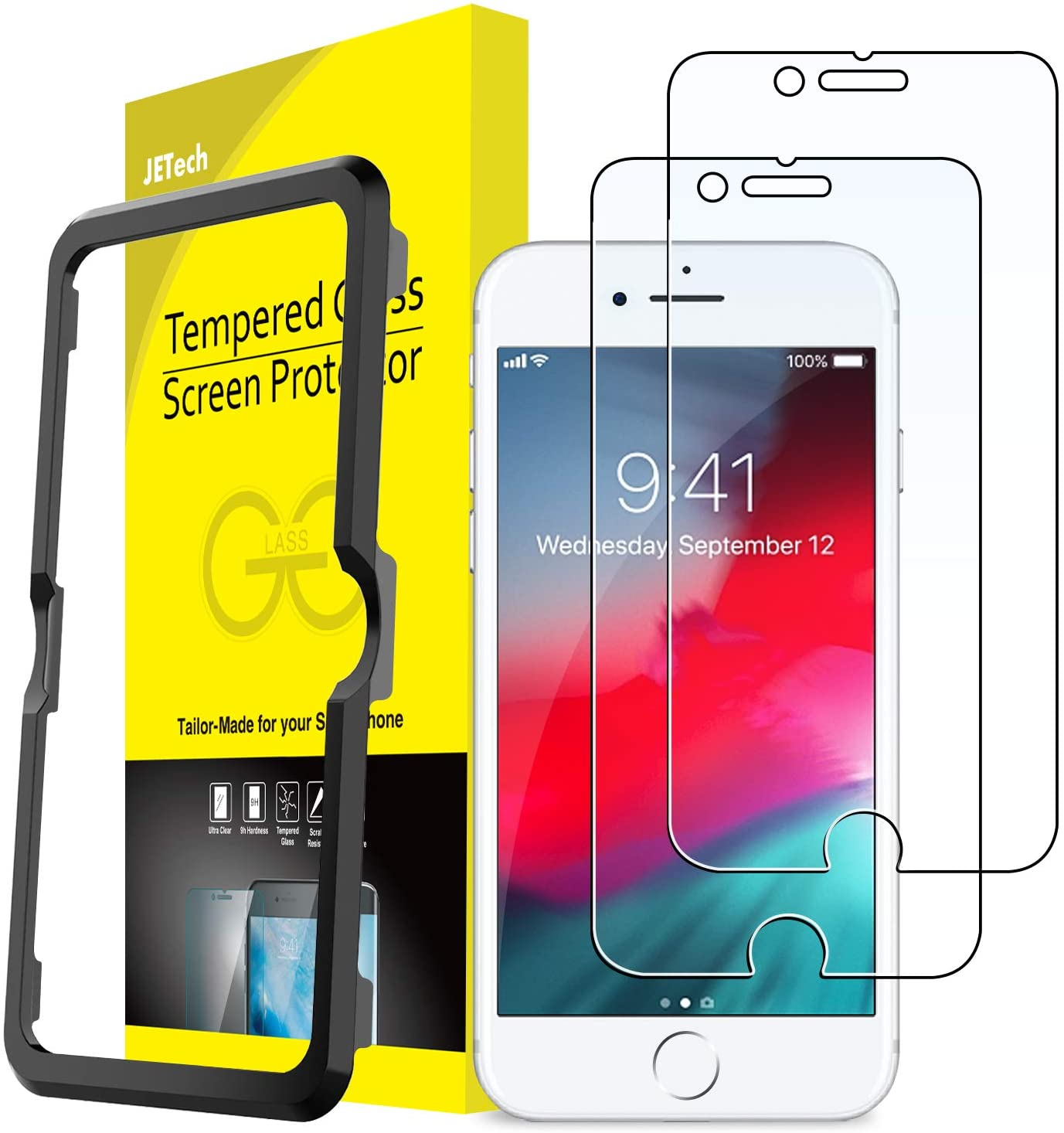 JETech Screen Protector for iPhone SE 2020, iPhone 8/7, iPhone 6s/6, 4.7-Inch, Tempered Glass Film with Easy-Installation Tool, 2-Pack