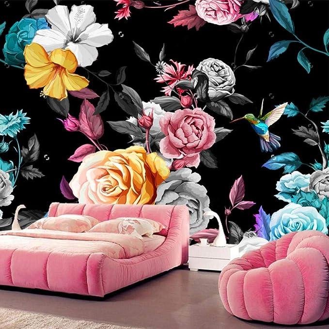 Papel pintado grande personalizado colibrí rosa peonía con hojas ...