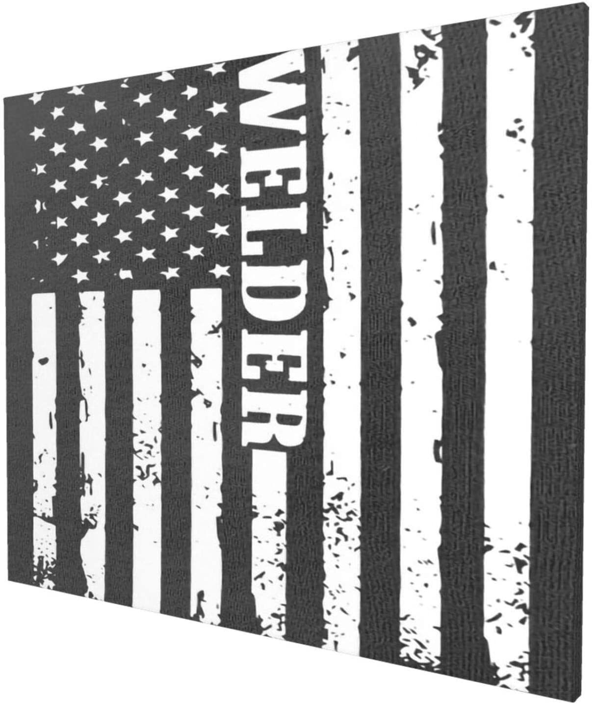 "Canvas Wall Art with American Flag Welder Painting Print, 20"" x 24"" Pictures Paintings Artwork Framed for Living Room Home Decoration"