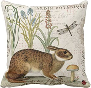 Emvency Throw Pillow Cover Botanical Modern Vintage French Rabbit in Garden Flowers Decorative Linen Pillow Case Home Decor Square 20 x 20 Inch Pillowcase