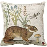 Emvency Throw Pillow Cover Botanical Modern Vintage French Rabbit in Garden Flowers Decorative Linen Pillow Case Home…