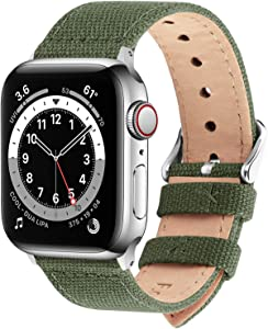 Fullmosa Compatible Apple Watch Band 44mm 42mm 40mm 38mm, 8 Colors Canvas Style for iWatch Strap Compatible with Apple Watch Series 4/5/6/SE (44mm) Series 3/2/1 (42mm),44mm 42mm Army Green