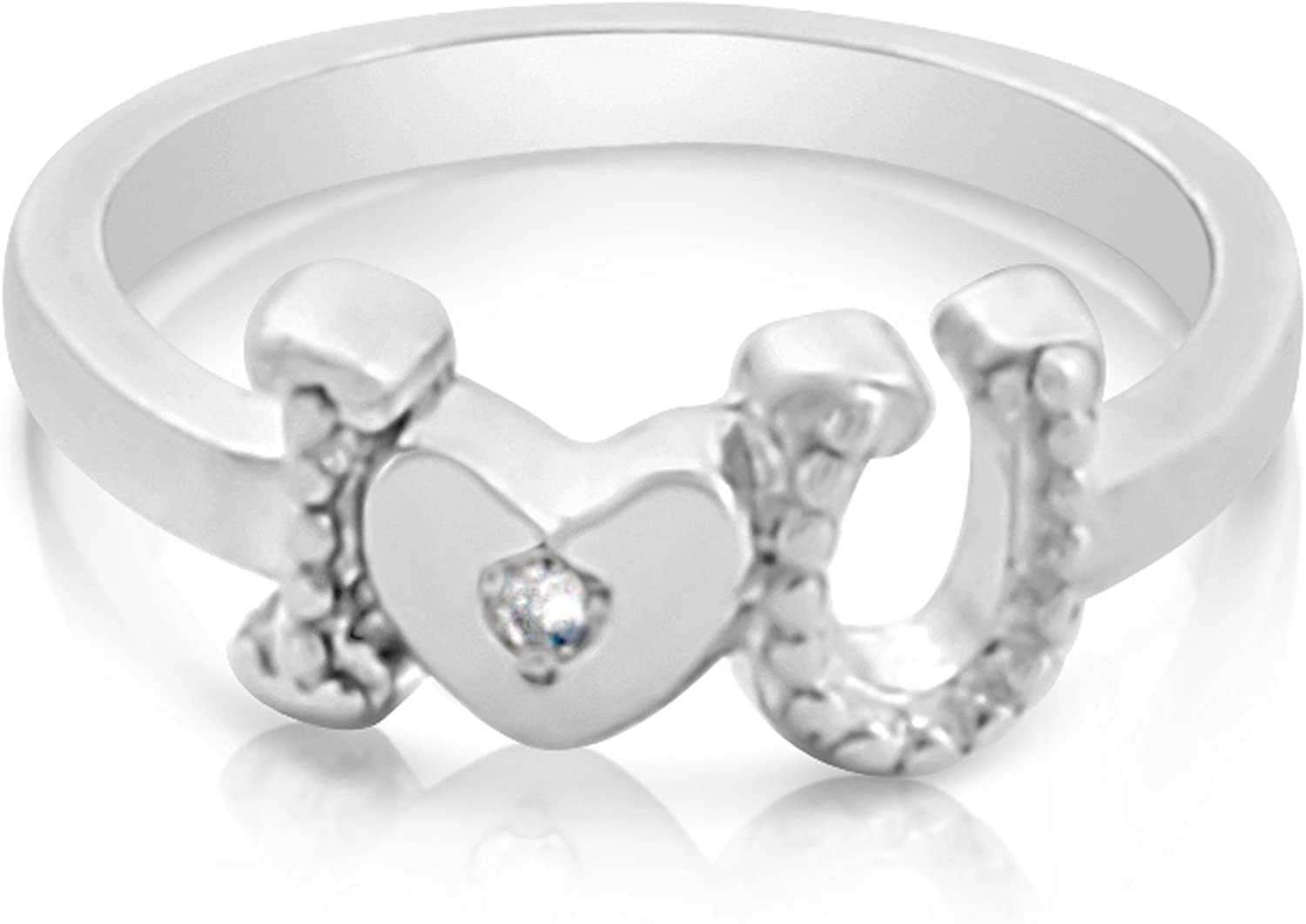 Amazon Com Belcho Usa 18k Gold Plated Silver Texture I Heart U Ring With Diamond Accent Jewelry