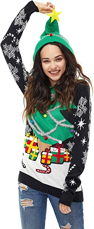 Women's Ugly Christmas Hoodie Sweater Funny Tacky Christmas Best Ugly Christmas Sweaters Ever