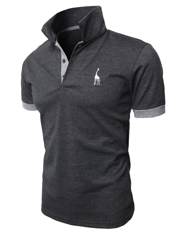 【H2H】 メンズ カジュアル ゴルフウェアー ファッション ベーシック 無地 スリームフィット ワンポイント 半袖 ポロシャツ B00M1GYMM8 5L|チャコール チャコール 5L