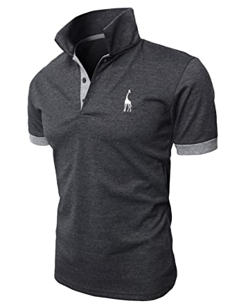 b4986428 H2H Men's Fashion Stand Collar Pure Color Short Sleeve Polo T Shirt  Charcoal US XS/