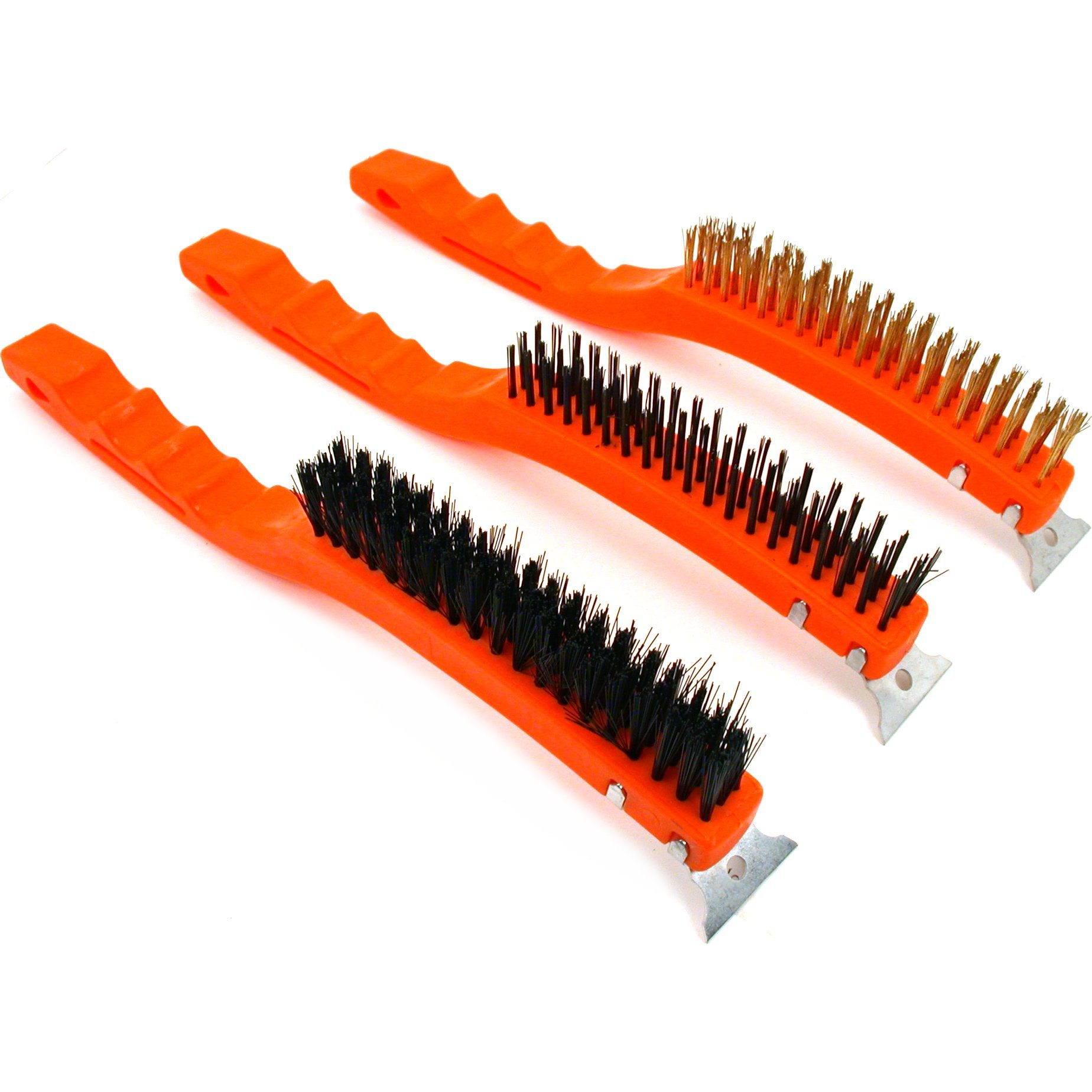 3 Brass Nylon Steel Cleaning Scraper Brushes Shop Tools