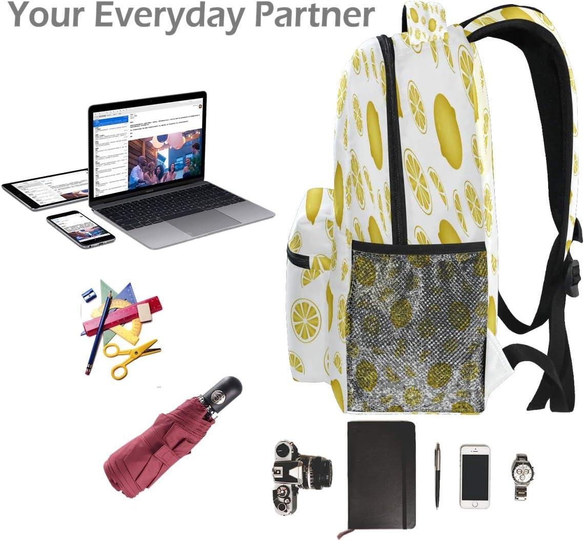 Laptop Backpack Boys Grils Tropical Lemon Golden Color School Bookbags Computer Daypack for Travel Hiking Camping