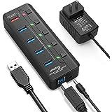 APANAGE USB3.0 ハブ 5ポート セルフパワー/バスパワー対応 独立スイッチ付・120cmケーブル・5V/3A電源付き・5Gbps転送・充電可能