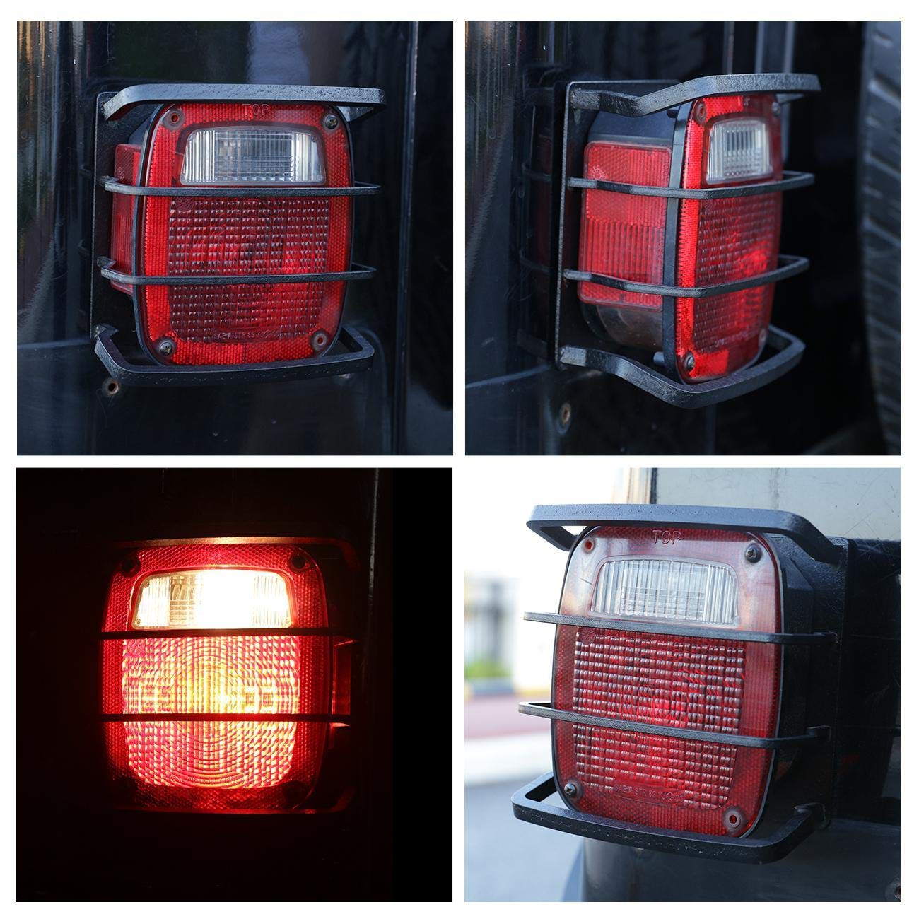 ALAVENTE 2 Pcs Exterior Rear Tail Light Guard Cover Taillight Protector Shade Skull Skeleton Shape Hollow Out for Jeep Wrangler 1987-2006 TJ//YJ