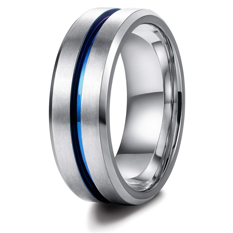 sailimue Acier Inoxydable 8mm Bague pour Hommes Femmes Unisexe Bague Bleue Anneaux Mariage Couple Anneaux