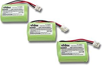 vhbw 3X Ni-MH batería 400mAh (2.4V) para teléfono Fijo inalámbrico teléfono Switel MD 9300, 9500, 9600 por SL30013.: Amazon.es: Electrónica