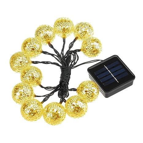 TOPELEK - Guirnalda de luces solares de hada de 40 cm, 12 luces LED solares