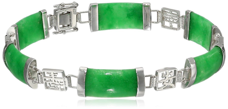 Sterling Silver Green Jade Asian Script Link Bracelet Amazon Collection QB-10594-AM