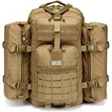 CRAZY ANTS Military Tactical Backpack 3 Day Pack Waterproof Outdoor Gear for Camping Hiking,Tan + 2 Detachable packs