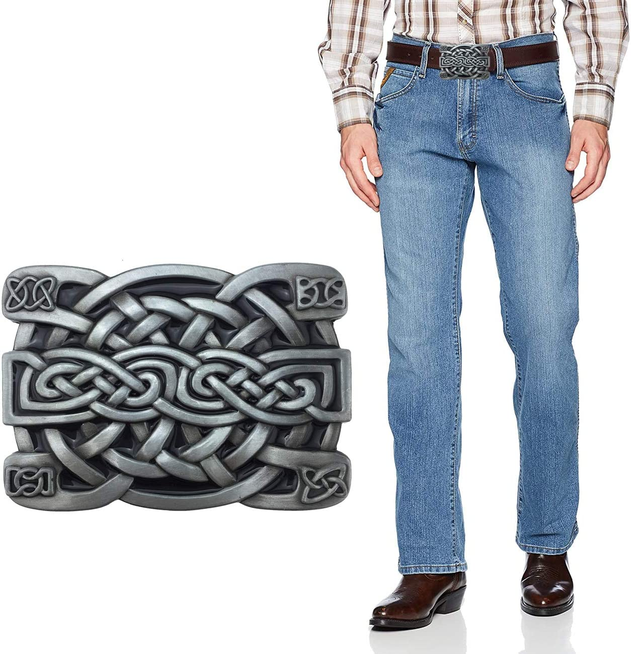 XGALA Fashion Mens Retro Western Cowboy Celtic Knot Metal Belt Buckle Black Enamel, Medium