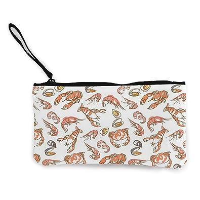 Make Up Bag,Cellphone Bag With Handle Black Octopus Zipper Canvas Coin Purse Wallet