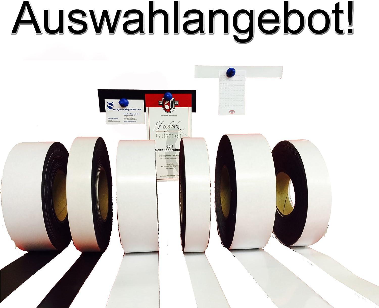 Wei/ß Matt selbstklebend, Breite 20mm Smagtron Magnettechnik !Auswahlangebot Ferroband Eisenfolie selbstklebend Magnetstreifen Ferrofolie