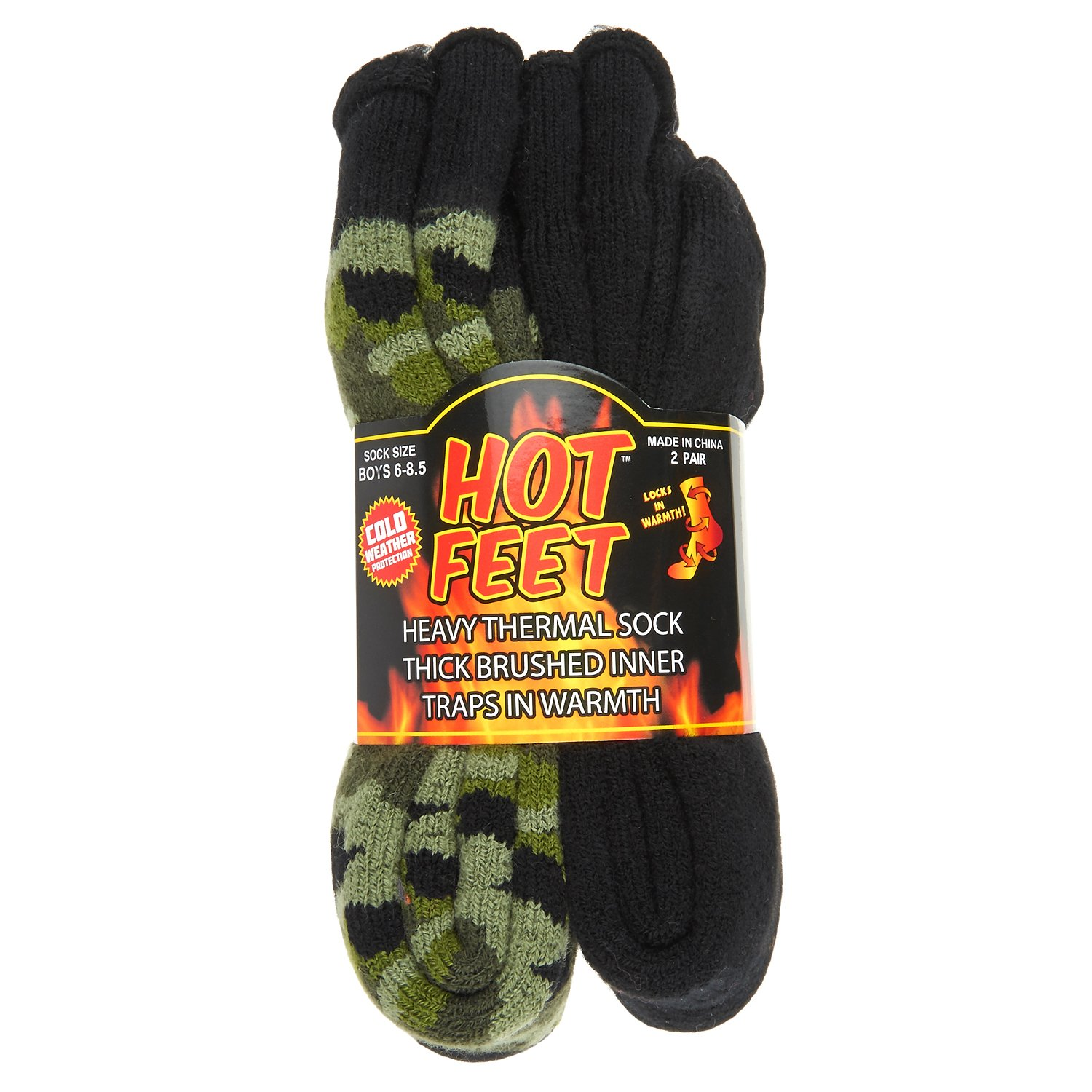 Hot Feet Boy's 2 Pairs Heavy Thermal Socks - Thick Insulated Crew for Cold Weather; Size: 6-13.5 (Age: 5-11),Green Camo and Solid Black