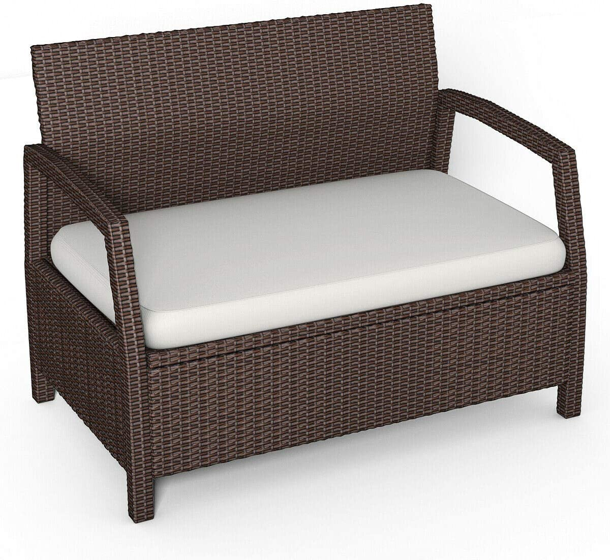Tangkula Bench Couch Chair Patio Furniture Sofas, Brown: Kitchen & Dining