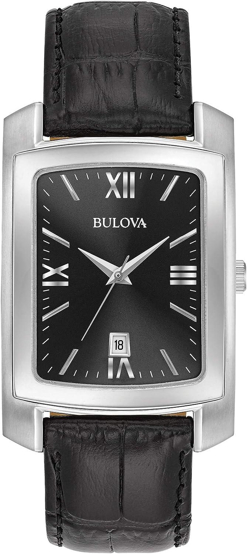 Bulova Men s Classic Crocodile Grain Leather Strap Rectangular Watch