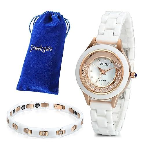 JewelryWe Juego de Reloj con Pulsera, Moda 2016 Reloj Cuarzo con Pulsera Blanca de Cerámica, Encanto Regalo para Chica Dulce, Reloj Oro Rosa Blanco: ...